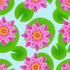 Векторный клипарт: Фон бесшовные модели с розовыми лотоса