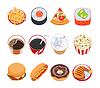 Fast Food Icons Set | Stock Vector Graphics