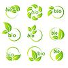 Set aus grünen Blättern Bio Symbol Design-Elemente