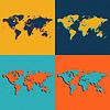 Векторный клипарт: Цвет карты мира. Плоский стиль.