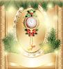 Neujahr Uhr mit Spielzeug und Weihnachtsbäume Karte