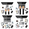 Set der modernen Geschäftswelt Büroarbeits