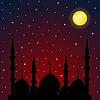 Nacht-Hintergrund mit Moschee Silhouette