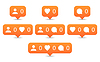 Like, follow, comment icons in flat style | 向量插图
