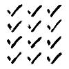 Vektor Cliparts: Brushstroke Häkchen schwarzes Zeichen