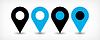 Blau flach map pin Zeichen Standort-Symbol mit Schatten