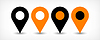 Векторный клипарт: Оранжевый плоская карта контактный значок знак расположение с тенью