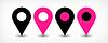 Векторный клипарт: Розовый плоская карта контактный значок знак расположение с тенью