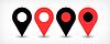 Векторный клипарт: Красный плоский карта контактный значок знак расположение с тенью