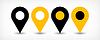 Векторный клипарт: Желтый плоский карта контактный значок знак расположение с тенью