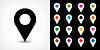 Векторный клипарт: Черная карта контактный значок знак расположение с тенью
