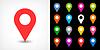 Векторный клипарт: Цветная карта контактный значок знак расположение с тенью