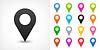 Векторный клипарт: Цветная карта контактный значок знак расположение в плоском стиле