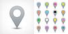 Векторный клипарт: Серый карта контактный значок знак расположение в плоском стиле