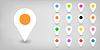 Векторный клипарт: Серый значок карты пин расположение в плоском стиле
