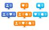 Векторный клипарт: Как, следовать, комментарий иконки в плоском стиле