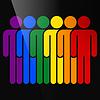 Farbe Schriftzug sechs Mann LGBT-Bewegung Regenbogenfahne