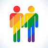 Векторный клипарт: Гей-брак значок гомосексуалистом цвет