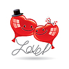 Grußkarte Liebe mit zwei Ballons in Form von