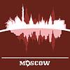 Skyline von Moskau, Russland, mit Reflexion