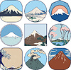 Set von malerischen Skizzen des Mount Fuji