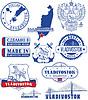 Wladiwostok, Russland. Satz von Briefmarken und Zeichen