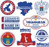 Volgograd, Russland. Satz von Briefmarken und Zeichen