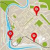 Abstrakt Stadtkarte mit roten Stiften. Flaches Design