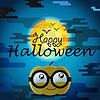 Halloween-Grußkarte mit Kürbis. Glücklich