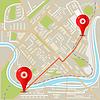 abstrakter Stadtplan flaches Design mit roten Stiften