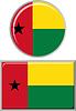 Guinea-Bissau runden und quadratischen Icon Flagge.