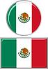 Mexican runden und quadratischen Icon Flagge.