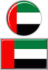 Vereinigte Arabische Emirate runden und quadratischen Icon Flagge.