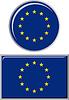 Europäische Union rund und quadratisch Icon Flagge.