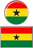 Ghanaische runden und quadratischen Icon Flagge.