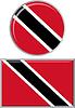 Trinidad und Tobago rund, quadratisch Icon Flagge.