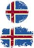 Icelandic runden und quadratischen Grunge Fahnen.