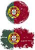 Portugiesisch runden und quadratischen Grunge Fahnen.