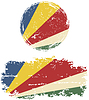 Seychelles runden und quadratischen Grunge Fahnen.