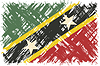 St. Kitts und Nevis Grunge-Flagge.