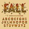 fallen Alphabet mit Blättern