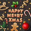 Frohe Weihnachten Grußkarte mit Cookies