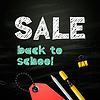 Back to school Verkauf Design auf Tafel Hintergrund