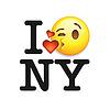 Ich liebe New York, Schrift mit Zeichen und Emoji Kuss Gesicht