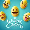 Fröhliche Ostern Plakat, Ostereier mit Emoji-Gesichter