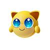 Netter Tier Emoji mit großen Augen, Cartoon