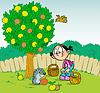 Mädchen und Igel im Garten