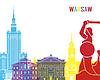 Skyline von Warschau Pop-