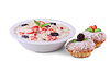 Oatmeal with milk, berries and muffins  | Stock Foto