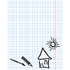 Checkered sheet with simple drawings   Stock Vector Graphics